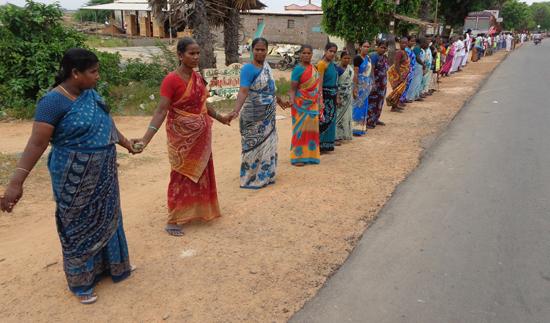human chain on Cuddalore Chidambaram National Highway