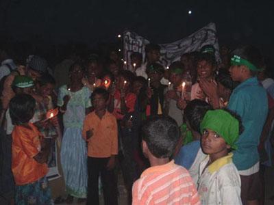Children at candlelight vigil