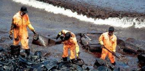 Fisherman cleaning up oil spill