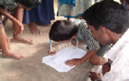 Villagers signing petition